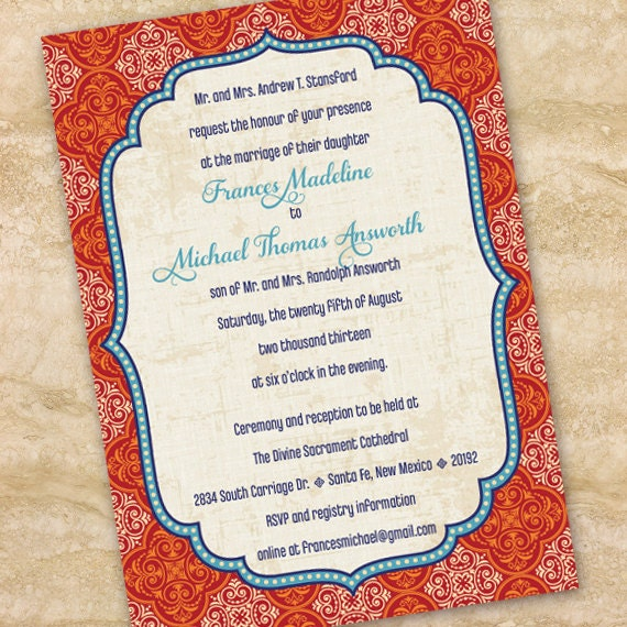 wedding invitations, Moroccan wedding invitations, indigo and rust bridal shower invitations, graduation invitations, wedding package, IN208