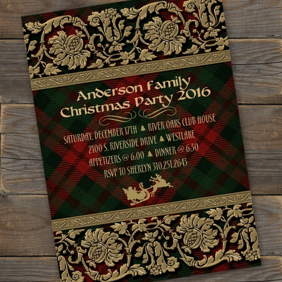Christmas party invitations, gold Christmas party invitations, red plaid Christmas party invitations, gold and red Christmas, CC098