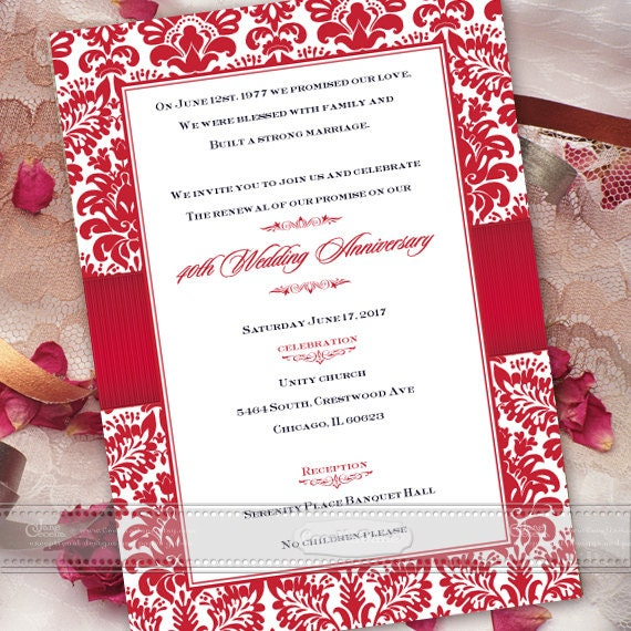 40th wedding anniversary invitations, anniversary party invitations, bridal shower invitations, golden anniversary invitations, IN465