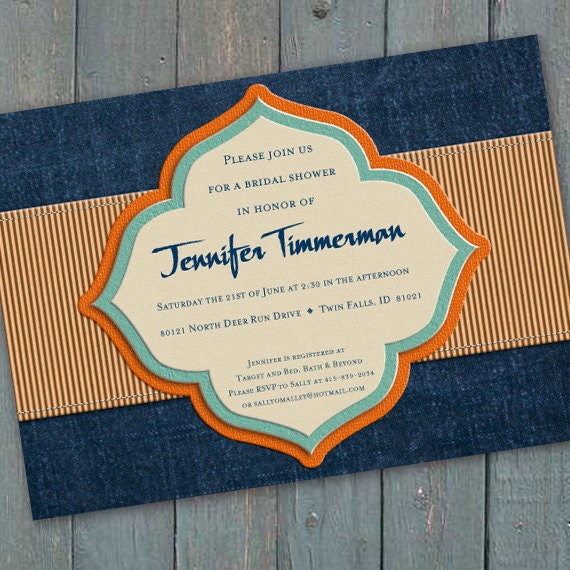 bridal shower invitations, wedding shower invitations, denim blue bridal shower invitations, navy retirement party invitations, IN197