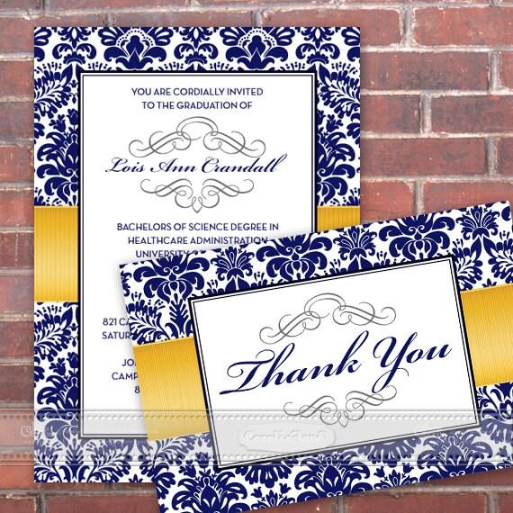graduation invitations, blue graduation invitations, graduation announcement, University of Michigan graduation invitations, IN351