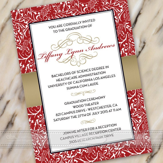 graduation invitations, red and gold graduation invitations, gold and red graduation invitations, crimson graduation invitations, IN387