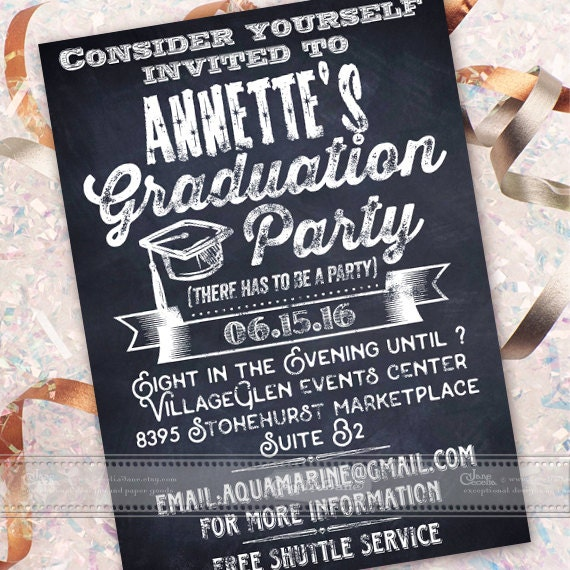 graduation party invitations, graduation announcement, chalkboard graduation party invitations, high school graduation party, IN449