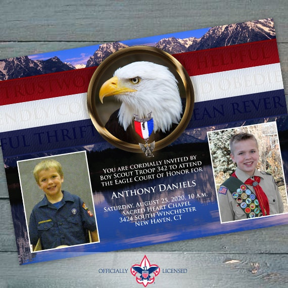 Eagle Scout Court of Honor invitations, single sided invitation, Boy Scouts of America, BSA Grand Tetons, BSA0601