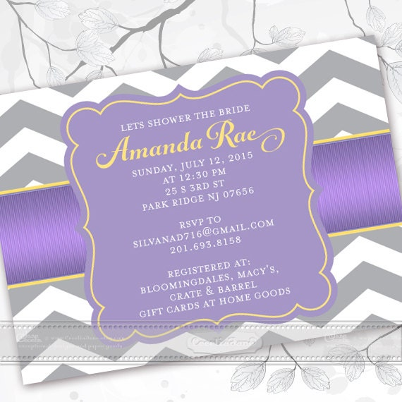bridal shower invitations, lavendar bridal shower invitations, chevron bridal shower invitations, lavender graduation announcement, IN369