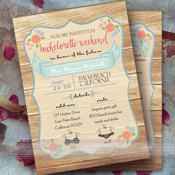 bachelorette party invitation, bachelorette weekend invitation, bridal shower, girls weekend, girls night out, bridal suite, IN375