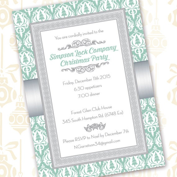 Christmas party invitations, mint green and silver Christmas, mint and gray damask Christmas card, silver and green Christmas, CC089