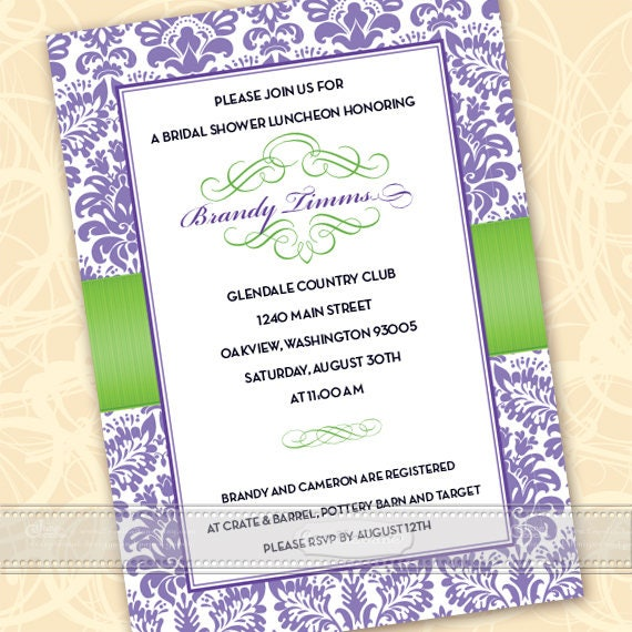 bridal shower invitations, lavender bridal shower invitations, hyacinth bridal shower invitations, lime bridal shower invitations, IN330