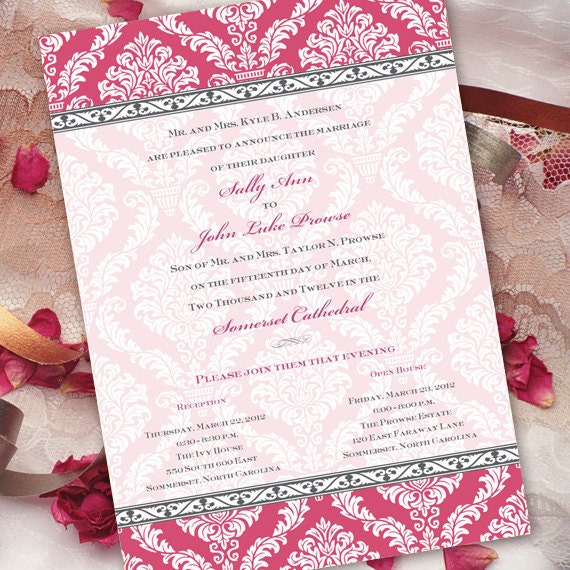 wedding invitations, wedding package, hot pink wedding invitations, bridal shower invitations, pinkalicious party, retirement party