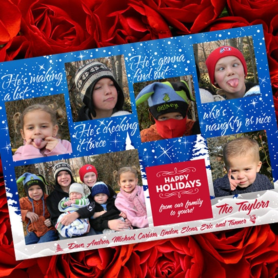 Christmas cards, Makin' a List Christmas card, naughty or nice photo card, 6 photo card, snowflake Christmas card, blue Christmas card CC046