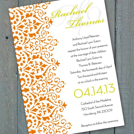 wedding invitations, tangerine wedding invitations, wedding package, orange bachelorette party invitations, bridal shower invitations, IN164