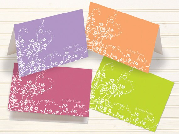 thank you cards, personalized notecards, floral notecards, pink flower cards, tangerine thank you cards, lime personalized notecards, PC111