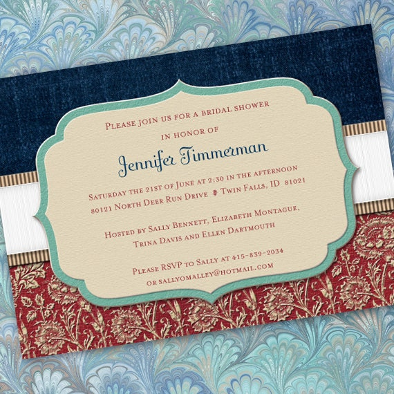 bridal shower invitations, Americana party, Veteran retirement invitation, American wedding, red white and blue wedding, IN200