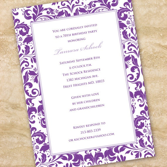 bridal shower invitations, purple bridal shower invitations, lavender bridal shower invitations, purple retirement party, purple wedding