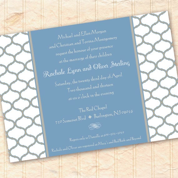 wedding invitations, blue bridal shower invitations, baby shower invitations, blue and white wedding, wedding package, IN196