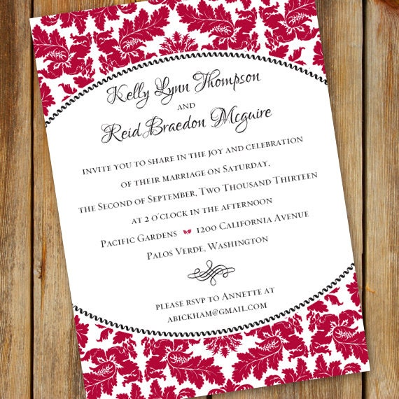 wedding invitations, cherry red wedding invitations, cranberry wedding invitations, rehearsal dinner invitation, wedding package, IN342