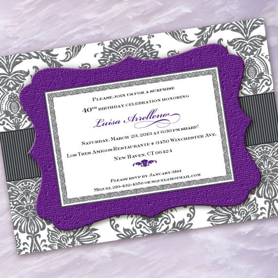 bridal shower invitation, purple bridal shower invitation, hyacinth bridal shower invitation, purple wedding shower invitations, IN359