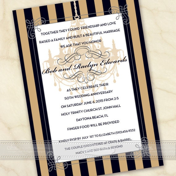 50th wedding anniversary invitation, anniversary party invitations, 60th wedding anniversary, golden anniversary party, IN495