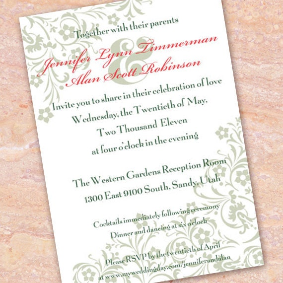 wedding invitations, sage wedding invitations, bridal shower invitations, mint wedding invitations, wedding package