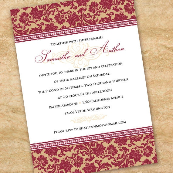 wedding invitations, cranberry wedding invitations, rust wedding invitations, rust bridal shower invitations, wedding package, IN281