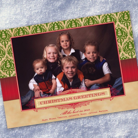 Christmas cards, green Christmas card, red and tan holiday card, Christmas tree damask card, Christmas photo card, evergreen Christmas CC065