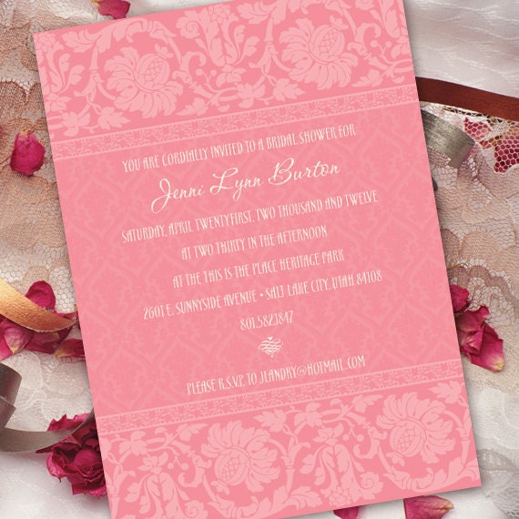 bridal shower invitations, pink bridal shower invitations, wedding invitations, bubblegum pink invitations, cotton candy wedding invitations