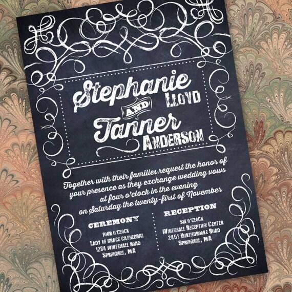 wedding invitations, wedding package, chalkboard wedding invitations, chalkboard bridal shower invitations, wedding package, IN216