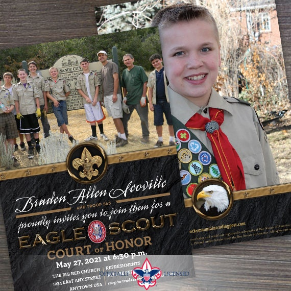 Eagle Scout court of honor invitations, double sided invitations, Court of Honor invitation, BSA invitations, BSA1101
