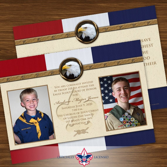 Eagle Scout court of honor invitations, double sided invitation, Court of Honor invitation, BSA0401