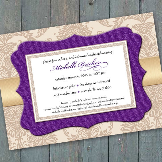 bridal shower invitations, champagne bridal shower invitations, hyacinth bridal shower luncheon, bridesmaid luncheon, IN219