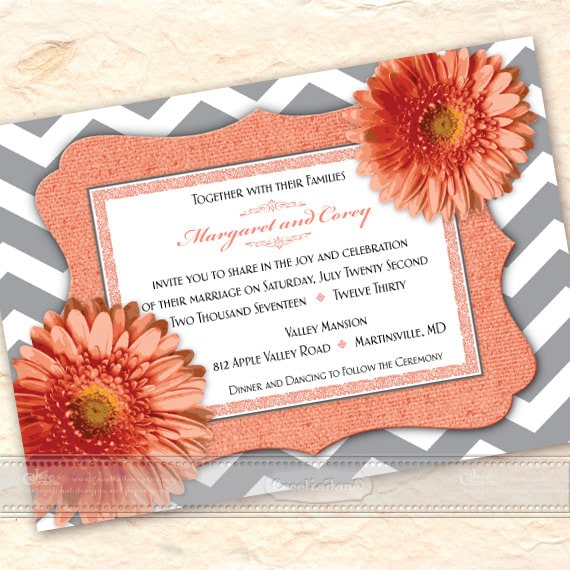 wedding invitations, coral wedding invitations, chevron wedding invitations, coral bridal shower invitations, wedding package, IN539