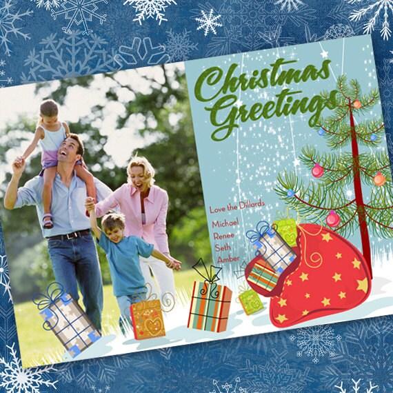 Christmas cards, Christmas presents card, evergreen tree Christmas card, packages Christmas card, Santa's sack, Happy Holidays, CC044