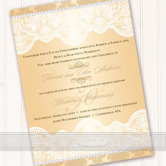 50th wedding anniversary invitations, golden anniversary invitations, champagne wedding invitations, champagne wedding invitations, IN537