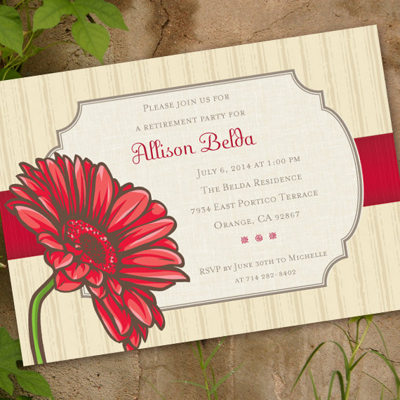 bridal shower invitations, red gerber daisy bridal shower invitations, daisy birthday invitations, daisy graduation invitations, IN336