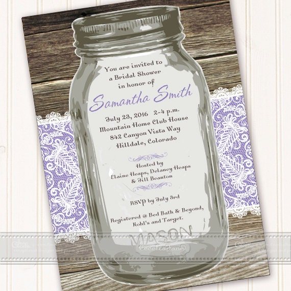 bridal shower invitations, mason jar bridal shower invitations, lavender bridal shower invitations, bridal shower package, IN492