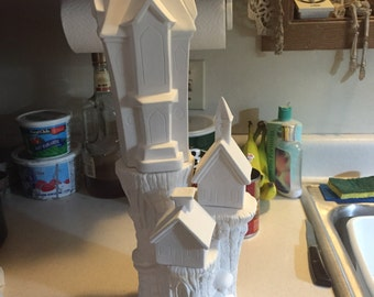 ceramic bisque tree stump and houses