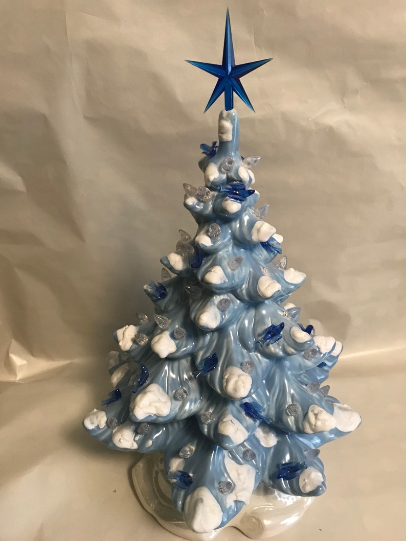 18 Winter Blue Ceramic Christmas Tree