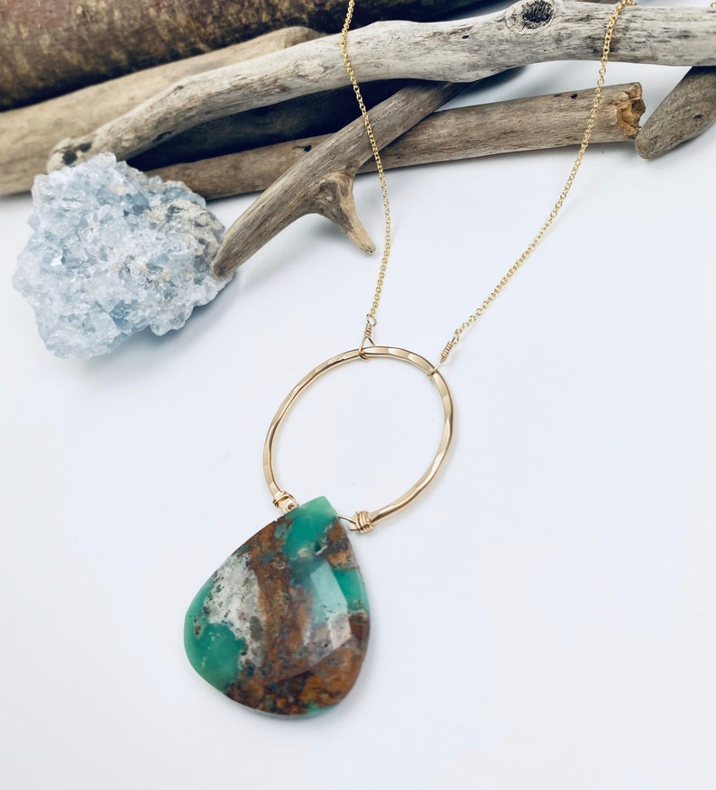 Gemstone necklace Chrysoprase Necklace Boho Necklace Crystal Necklace Raw Stone Necklace Boho Necklace Raw Crystal Necklace