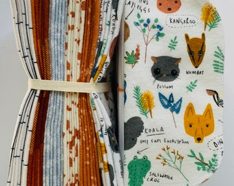 Cloth Baby Wipes. 8x8 100% cotton flannel. Eco friendly reusable washable cloth wipes and/or napkins. Bush Animals