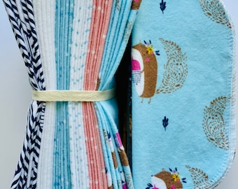 Cloth Baby Wipes. 8x8 100% cotton flannel. Eco friendly reusable washable cloth wipes and/or napkins. Squirrels
