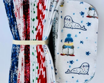 Cloth Baby Wipes. 8x8 100% cotton flannel. Eco friendly reusable washable cloth wipes and/or napkins. Winter Seals