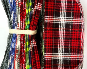 Holiday Plaid Cloth Napkins and/or Wipes. 8x8 100% cotton flannel. Eco friendly/reusable/ washable. Available in sets of 12, 24, or 36.