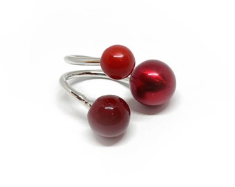 Ring Three customizable spheres , made in sterling silver. You can change the colors. Choose your colors !