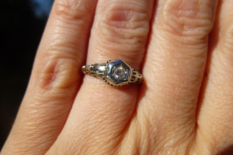 Filigree Engagement Ring One of a kind  14KT White gold  filigree with a diamond  Engagement Ring