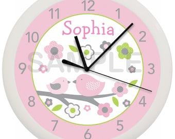 Personalized Pink Bird Nursery Bedding Wall Clock