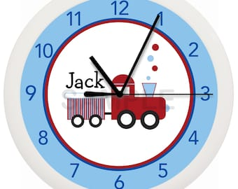 Blue and Red Train Nursery Wall Clock