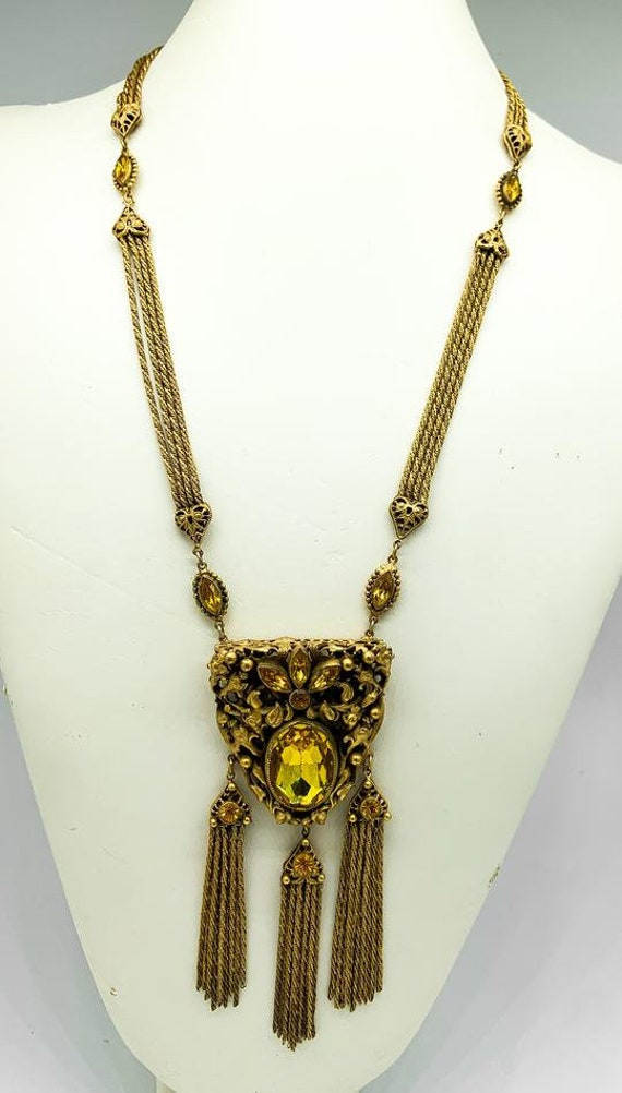 Vintage 30's Gold Braided Statement Necklace