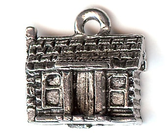LOG CABIN Charm. Silver Plated. 3D Cottage. Made in the USA. cnt