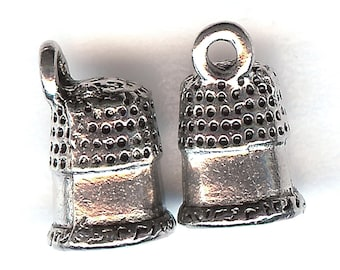 THIMBLE Charm. Silver Plated. Small 3D Thimble. Made in the USA. One Charm Only! cnt