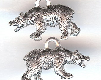 GRIZZLY BEAR Charm. Sterling Silver Plated. 3D Polar Bear. My Best Bear. Made in the USA. wui